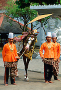 A decorated horse in parade at the Palace in Jakarta, Indonesia