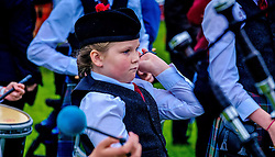 Peebles, Scotland UK  3rd September 2016. Peebles Highland Games, the biggest 'highland' games in the Scottish  Borders took place in Peebles on September 3rd 2016 featuring pipe band contests, highland dancing competitions, haggis hurling, hammer throwing, stone throwing and other traditional events.<br /> <br /> Pictured:  a young drummer in the Davidsons Mains and District Pipe Band<br /> <br /> (c) Andrew Wilson | Edinburgh Elite media