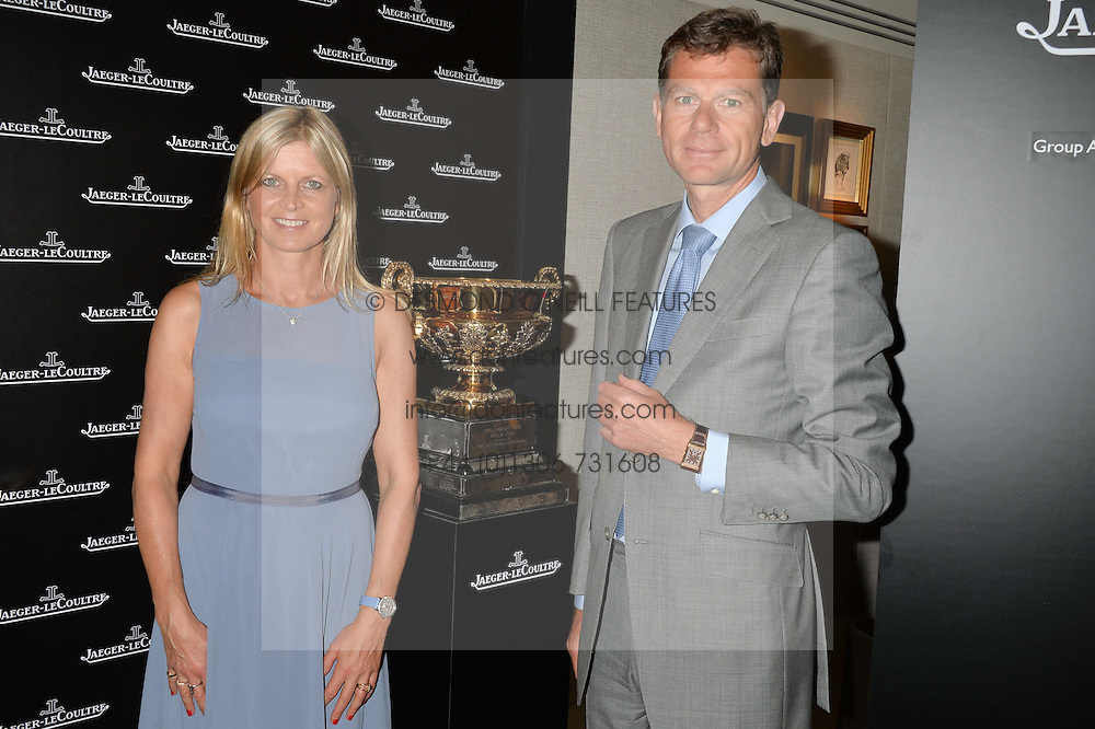 The MARCHIONESS OF MILFORD HAVEN and STEFAN BELMONT Maketing and technical director of Jaeger-LeCoultre at the draw for the Jaeger-LeCoultre Gold Cup held at Jaeger-LeCoultre, 13 Old Bond Street, London on 8th June 2015.
