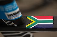 South Africa Flag, March 22, 2014 - Ironman Triathlon : Ironman Melbourne Pre-Race, Frankston Transition, Melbourne, Victoria, Australia. Credit: Lucas Wroe
