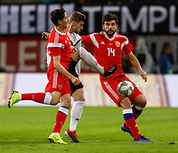 November 15, 2018 - Leipzig, Germany - Timo Werner (C) of Germany vies for the ball with Daler Kuzyaev (L) and Georgi Dzhikiya of Russia during the international friendly match between Germany and Russia on November 15, 2018 at Red Bull Arena in Leipzig, Germany. (Credit Image: © Mike Kireev/NurPhoto via ZUMA Press)