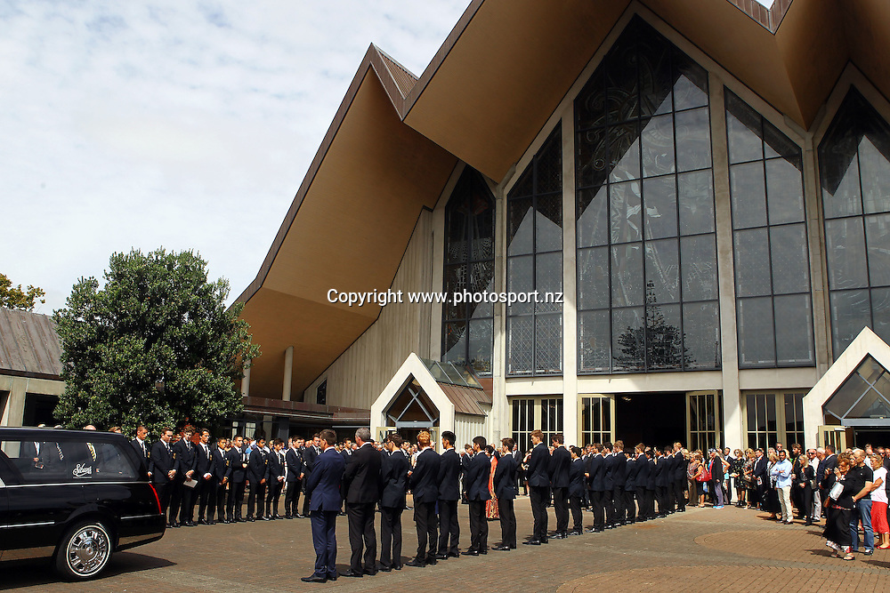 A guard of honour leads to the herse, Funeral held for Martin David Crowe MBE at the Holy Trinity Cathedral, Parnell, Auckland, New Zealand. 11 March 2016. Photo: William Booth / www.photosport.nz