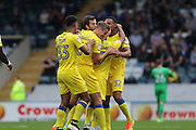 AFC Wimbledon striker Andy Barcham (17) scores a goal 0-1 and celebrates with his team during the EFL Sky Bet League 1 match between Rochdale and AFC Wimbledon at Spotland, Rochdale, England on 27 August 2016. Photo by Stuart Butcher.