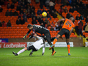 30th November 2018, Tannadice Park, Dundee, Scotland; Scottish Championship football, Dundee United versus Ayr United; Michael Moffat of Ayr United is fouled by Matej Rakovan of Dundee United to concede a penalty kick