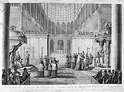 Restablishment of the Roman Catholic  church in France, April 1802.  French clergy presenting  First Consul Bonaparte with their oath of alliegence in Notre Dame, Paris, at Easter, April 1802.