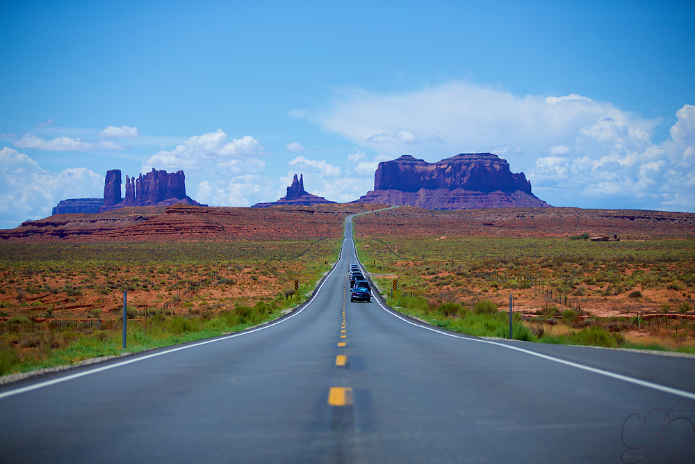 The iconic road leading into Monument Valley, Utah from the North - US-163
