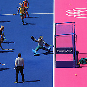 Kitty van Male scores a goal for Holland during the Australia V Holland women's hockey warm up match on the main hockey arena at Olympic Park, Stratford during the London 2012 Olympic games preparation at the London Olympics. London, UK. 22nd July 2012. Photo Tim Clayton