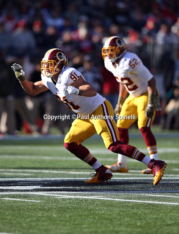 Washington Redskins outside linebacker Ryan Kerrigan (91) chases the action during the 2015 week 9 regular season NFL football game against the New England Patriots on Sunday, Nov. 8, 2015 in Foxborough, Mass. The Patriots won the game 27-10. (©Paul Anthony Spinelli)