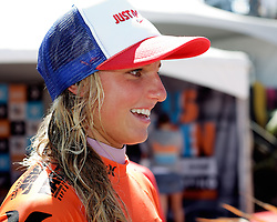 HUNTINGTON BEACH, California/USA (Saturday,Aug 6, 2011)  Lakey Peterson fields question for the press after defeating finals leader  Malia Manuel to  win the Hurley US Open of Surfing PRO Junior.  Photo: Eduardo E. Silva.