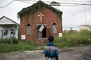 June 13, 2015, New Orleans, LA, Blighted vine covered  church in mid-city.<br /> Properties destroyed by Hurricane Katrina, remain scattered around New Orleans nearly ten years after the storm.