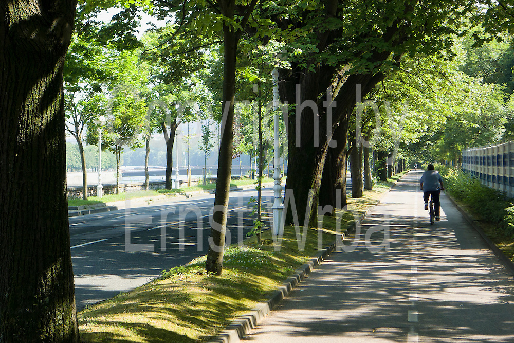 Allee und Fahrradweg am Rio Urumea, Donostia-San Sebastián, Gipuzkoa, Baskenland, Spanien | Allee and cycling path along the Rio Urumea, Donostia-San Sebastián, Gipuzkoa, Basque Country, Spain