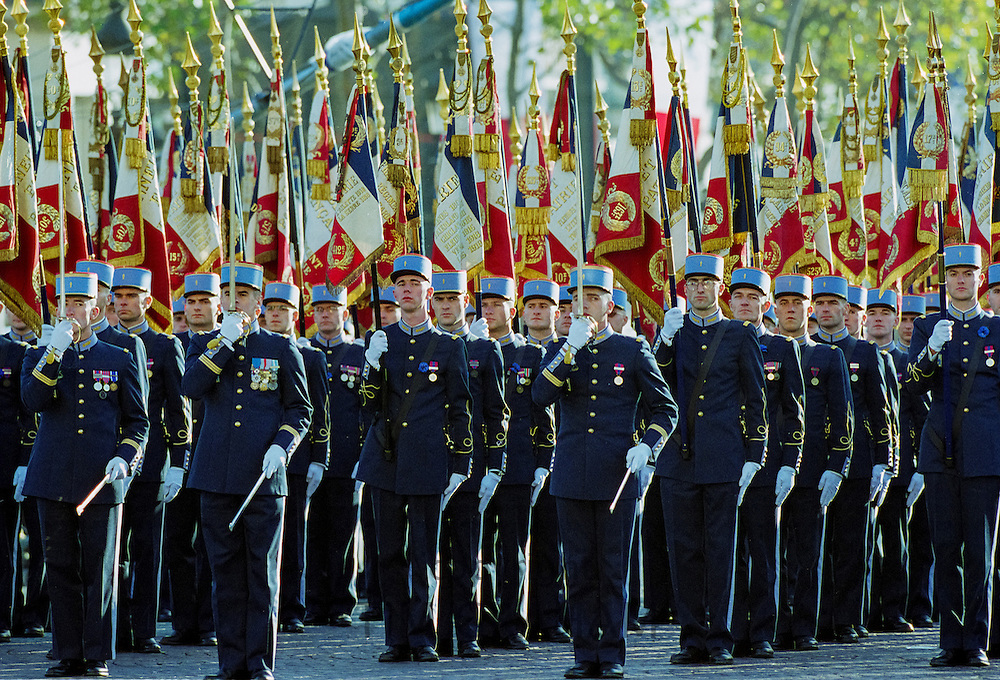 French soldiers taking part in military parade in Paris, France