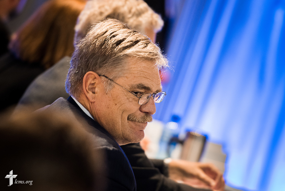 The Rev. Dr. John Wohlrabe Jr., elected fourth vice-president, looks over his shoulder at the 66th Regular Convention of The Lutheran Church–Missouri Synod on Sunday, July 9, 2016, at the Wisconsin Center in Milwaukee. LCMS/Michael Schuermann