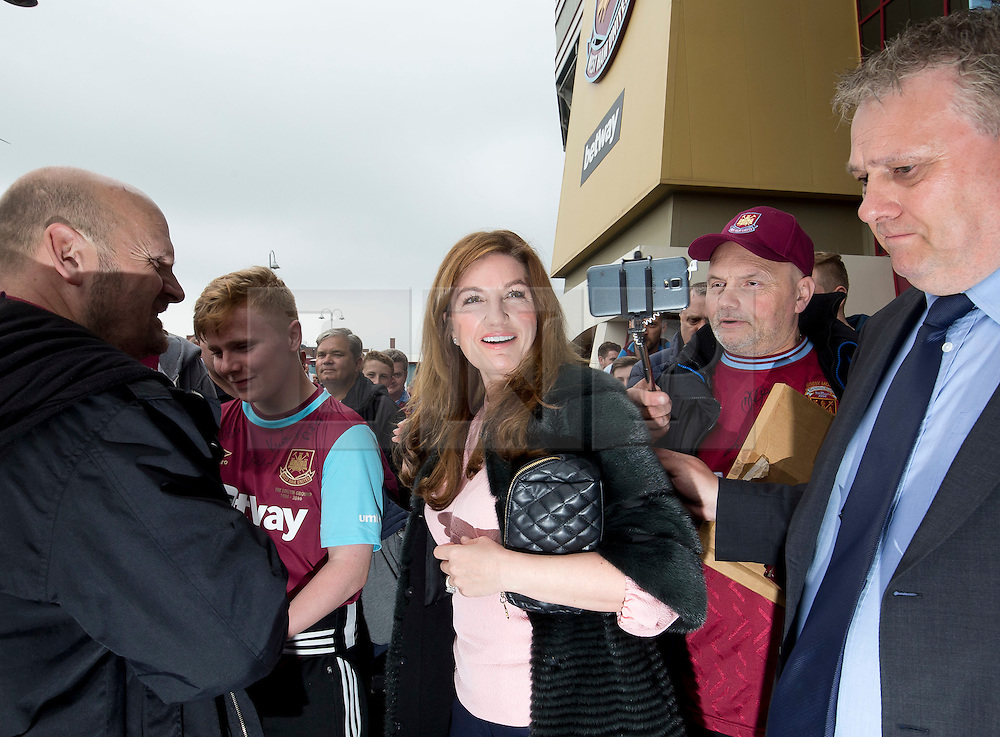 © Licensed to London News Pictures. 10/05/2016. LONDON, UK. Karen Brady Vice Chairman of West Ham United arrives at the   Boleyn Ground before their last game against Manchester United. Photo credit: LNP
