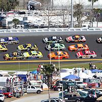 Sprint Cup drivers race through turn four during the Daytona 500 at Daytona International Speedway on February 20, 2011 in Daytona Beach, Florida. (AP Photo/Alex Menendez)