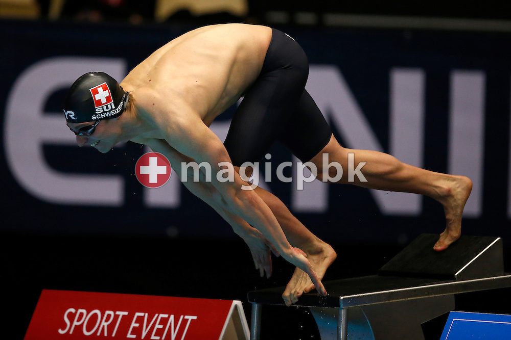 Martin SCHWEIZER of Switzerland on his way finishing 8th in a new Swiss Record time of 26.89 Sec. in the men's 50m Breaststroke Final during the 17th European Short Course Swimming Championships held at the Jyske Bank BOXEN in Herning, Denmark, Saturday, Dec. 14, 2013. (Photo by Patrick B. Kraemer / MAGICPBK)