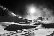 Snowdrift in a foehn storm, Muotathal, Schwyz, Switzerland