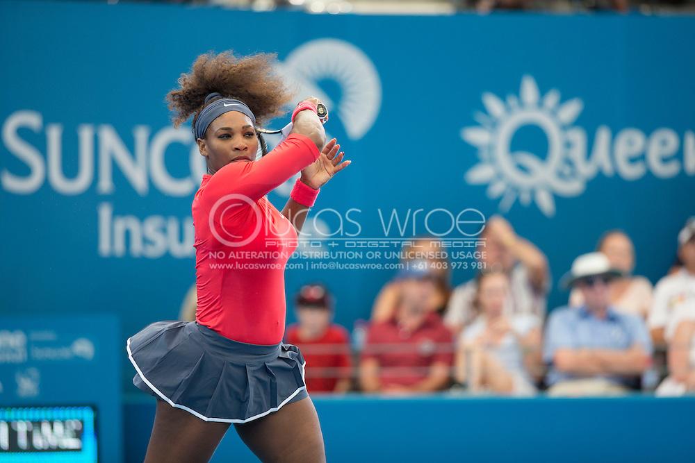 Serena Williams (USA). Brisbane International Tennis Championship. Queensland Tennis Center, Tennyson, Brisbane, Queensland, Australia. 30/12/2012. Photo By Lucas Wroe
