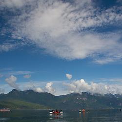 Kayakers on Hotham Sound, Sunshine Coast, British Columbia, Canada