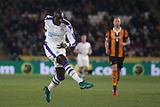 Newcastle United midfielder Mohamed Diame (15) with a shot during the EFL Quarter Final Cup match between Hull City and Newcastle United at the KCOM Stadium, Kingston upon Hull, England on 29 November 2016. Photo by Simon Davies.