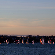 Yacht's sailing in the Hauraki Gulf in Auckland Harbour at sunset. Auckland, North Island. New Zealand, 3rd  November 2010. Photo Tim Clayton.