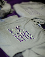 Waldorf College T-shirts on a table during an open house at Waldorf College in Forest City, Iowa on Saturday, May 14, 2011.