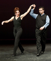 "Gina McGuire and Eric Proulx the General Manager Tanger Outlet in Tilton get a chance to practice their dance moves for ""I'm Too Sexy for my Shirt"" Thursday evening at Inter Lakes auditorium in preparation for Friday evenings Dancing with the Lakes Region Stars benefiting ILHS Habitat for Humanity Club.   (Karen Bobotas/for the Laconia Daily Sun)"