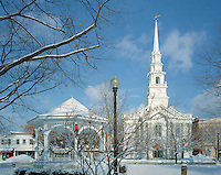 United Church & Gazebo, Central Square, Keene, New Hampshire after snow storm.