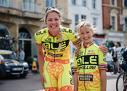 Emilia Fahlin and her 'mini-me' at Aviva Women's Tour 2016 - Stage 5. A 113.2 km road race from Northampton to Kettering, UK on June 19th 2016.