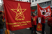 May Day march and rally at Trafalgar Square, May 1st, 2010 Communist Party of Great Britain Marxist Leninist banner