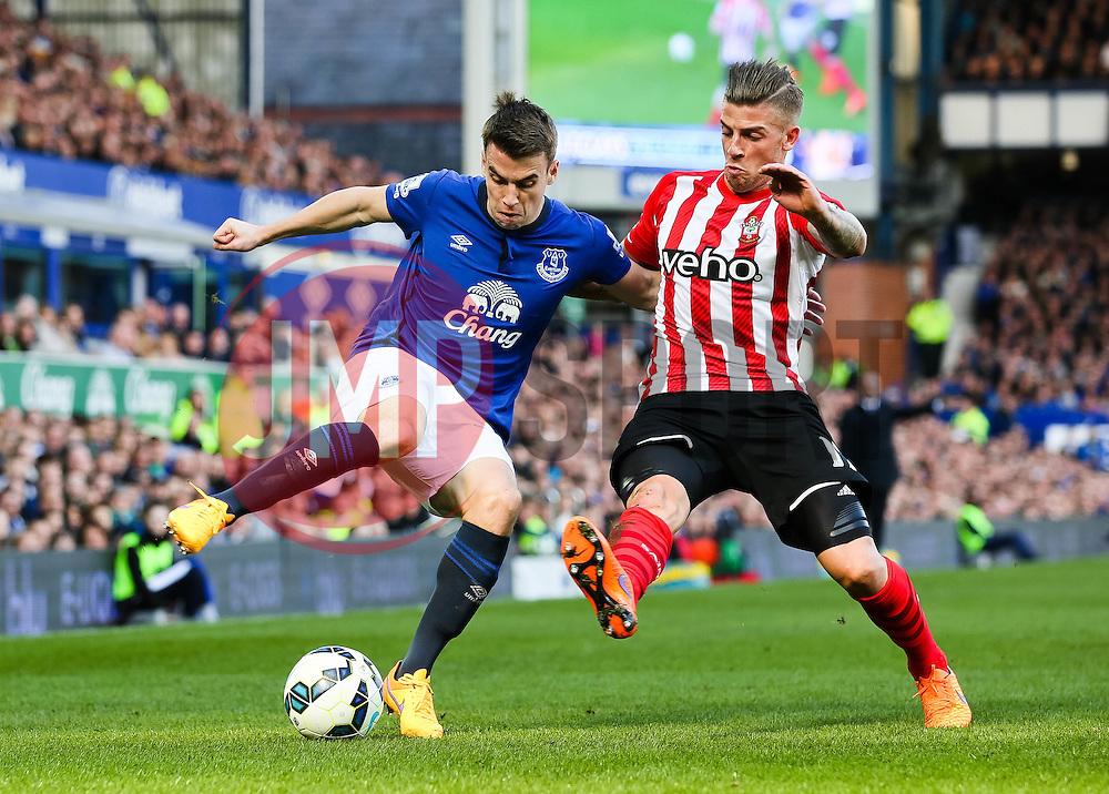 Everton's Seamus Coleman is closed down by Southampton's Toby Alderweireld - Photo mandatory by-line: Matt McNulty/JMP - Mobile: 07966 386802 - 04/04/2015 - SPORT - Football - Liverpool - Goodison Park - Everton v Southampton - Barclays Premier League