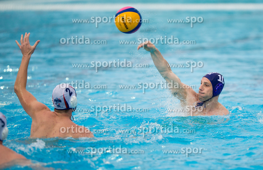 Jure Nastran of Slovenia during water polo match between National Teams of Slovenia and France in first Round of Qualifications for European Championship on May 31, 2013 in Kranj Pool, Slovenia. (Photo By Vid Ponikvar / Sportida)