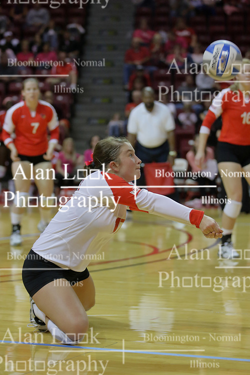 23 October 2010: Jenny Menendez goes to her knees for a dig during an NCAA, Missouri Valley Conference volleyball match between the Wichita State Shockers and the Illinois State Redbirds at Redbird Arena in Normal Illinois.