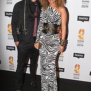 NLD/Hilversum//20140318 - Inloop Buma Awards 2014, Sharon Doorson en partner Bruno