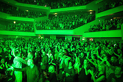 "© Licensed to London News Pictures . 05/02/2016 . Manchester , UK . Crowd . "" Hacienda Classical "" debut at the Bridgewater Hall . The 70 piece Manchester Camerata and performers including New Order's Peter Hook , Shaun Ryder , Rowetta Idah , Bez and Hacienda DJs Graeme Park and Mike Pickering mixing live compositions . Photo credit : Joel Goodman/LNP"