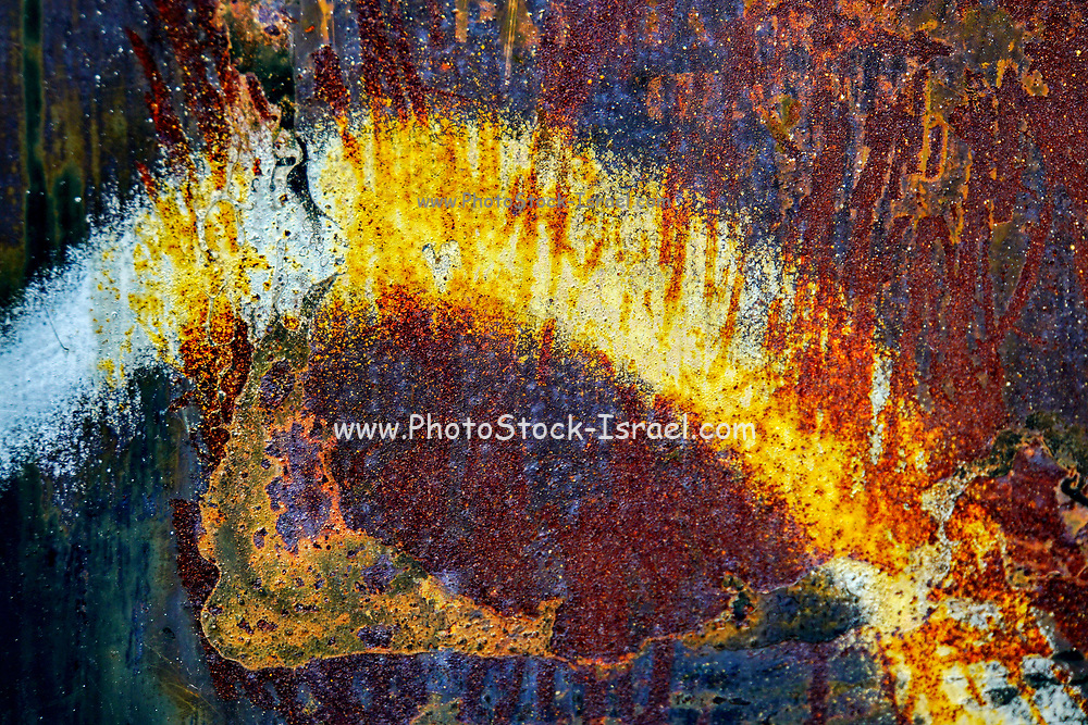 Abstract rust close-up with red and yellow