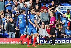 Ian Henderson of Rochdale is shown a straight red card after a late challenge on Gwion Edwards of Peterborough United - Mandatory by-line: Joe Dent/JMP - 14/04/2018 - FOOTBALL - ABAX Stadium - Peterborough, England - Peterborough United v Rochdale - Sky Bet League One