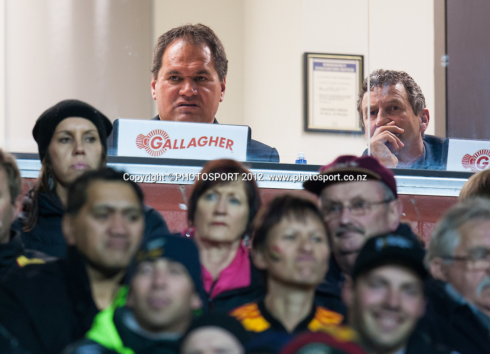 Chiefs' coaches Dave Rennie and Wayne Smith in the stand during the Investec Super Rugby final between Chiefs and Sharks won by Chiefs 37-6 at Waikato Stadium, Hamilton, New Zealand, Saturday 4 August 2012. Photo: Stephen Barker/Photosport.co.nz