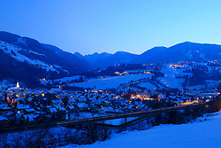 18.01.2013, Schladming, AUT, FIS Weltmeisterschaften Ski Alpin, Schladming 2013, Vorberichte, im Bild die Stadt Schladming und Rohrmoos-Untertal zur blauen Stunde am 18.01.2013 // the town of Schladming and Rohrmoos-Untertal in the blue hour on 2013/01/18, preview to the FIS Alpine World Ski Championships 2013 at Schladming, Austria on 2013/01/18. EXPA Pictures © 2013, PhotoCredit: EXPA/ Martin Huber