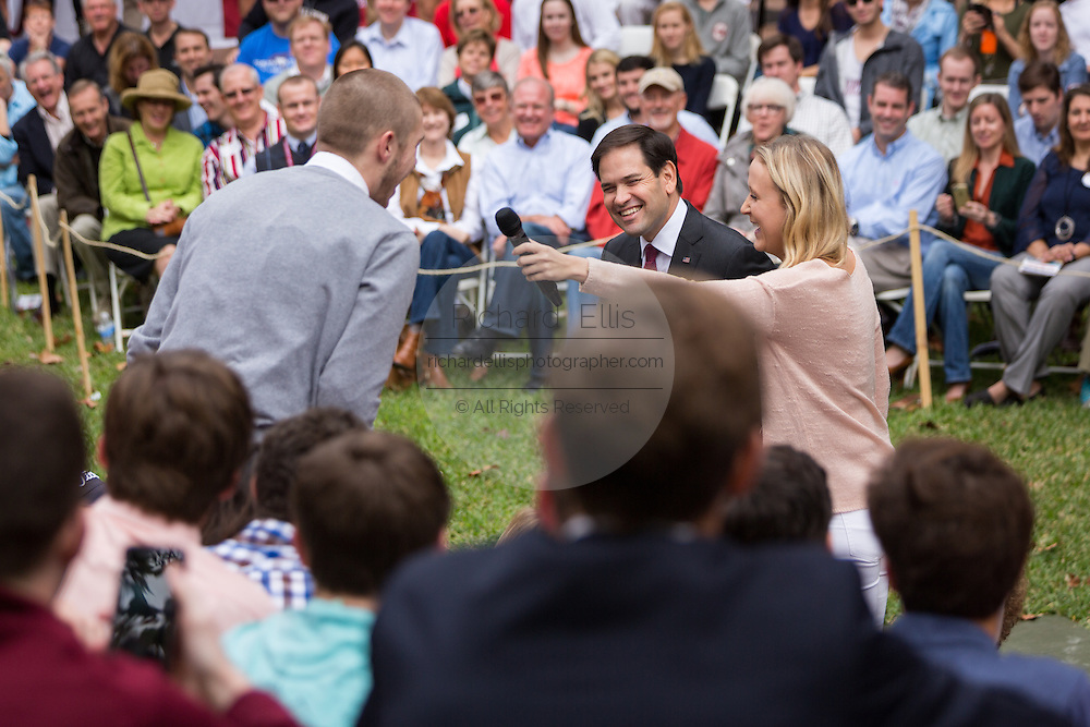 Senator and GOP presidential candidate Marco Rubio smiles as he takes a question from a student during the Bully Pulpit series town hall at the College of Charleston December 1, 2015 in Charleston, South Carolina.
