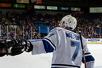 KELOWNA, CANADA - DECEMBER 7:  Scott Walford #7 of the Victoria Royals fist bumps the bench after scoring a goal against the Kelowna Rockets on December 7, 2018 at Prospera Place in Kelowna, British Columbia, Canada.  (Photo by Marissa Baecker/Shoot the Breeze)