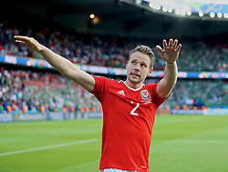 PARIS, FRANCE - Saturday, June 25, 2016: Wales' Chris Gunter celebrates the 1-0n victory over Northern Ireland and reaching the Quarter-Final during the Round of 16 UEFA Euro 2016 Championship match at the Parc des Princes. (Pic by David Rawcliffe/Propaganda)
