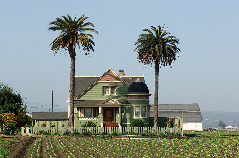 Victorian Farm House in vegetable fields, Salinas, California, United States of America