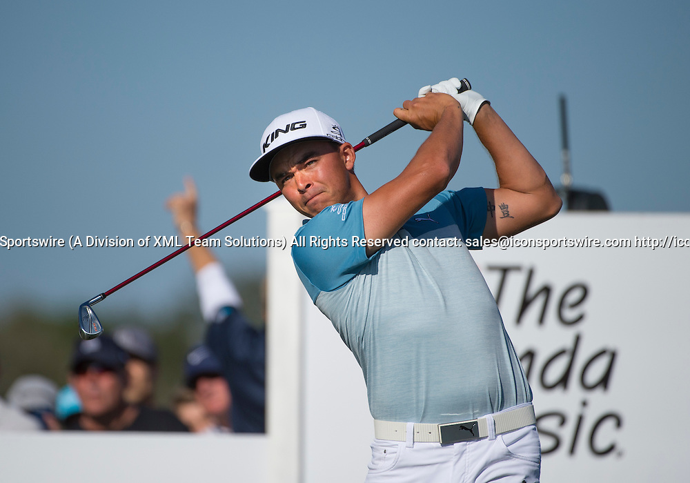 27 February 2016: Rickie Fowler tees off during the third round of the Honda Classic at the PGA National Resort & Spa in Palm Beach Gardens, FL.
