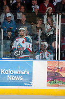 KELOWNA, CANADA - APRIL 19: Madison Bowey #4 and Tyrell Goulbourne #12 of the Kelowna Rockets sit in the penalty box against the Portland Winterhawks on April 18, 2014 during Game 2 of the third round of WHL Playoffs at Prospera Place in Kelowna, British Columbia, Canada.   (Photo by Marissa Baecker/Shoot the Breeze)  *** Local Caption *** Madison Bowey; Tyrell Goulbourne;