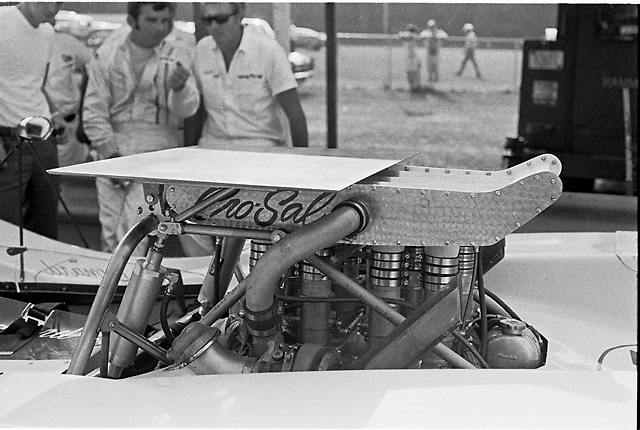 All-wheel-drive, turbocharged McKee-Oldsmobile at Elkhart Lake Can-Am, 1969. Did not race. In background are driver Joe Leonard and Goodyear tech Bud Poorman.