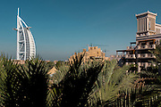 DUBAI, UAE - DECEMBER 18, 2015: Jumeirah Al Qasr, Madinat Jumeirah Resort offers unique views of the 7-star Burj Al Arab Hotel, one of Dubai's landmarks.