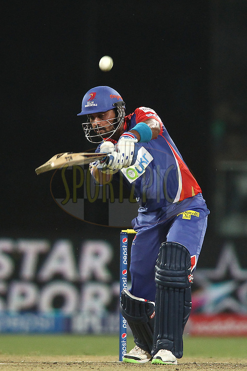 Murali Vijay of the Delhi Daredevils chips a delivery over the top during match 26 of the Pepsi Indian Premier League Season 2014 between the Delhi Daredevils and the Chennai Super Kings held at the Feroze Shah Kotla cricket stadium, Delhi, India on the 5th May  2014<br /> <br /> Photo by Shaun Roy / IPL / SPORTZPICS<br /> <br /> <br /> <br /> Image use subject to terms and conditions which can be found here:  http://sportzpics.photoshelter.com/gallery/Pepsi-IPL-Image-terms-and-conditions/G00004VW1IVJ.gB0/C0000TScjhBM6ikg