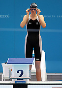 Lauren Boyle (NZL) lines up for the Women's 200m Freestyle Heats at the 2006 Commonwealth Games at the Sports and Aquatic Centre, Melbourne, Australia on 16 March, 2006. Photo: Sport the Library / www.photosport.nz
