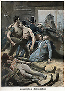 Coal Mining: Pit-head scene showing reactions of friends and relatives as victims of Fire-Damp (mainly Methane) explosion at Montceau-les-Mine, France.  20 killed and more than 10 badly injured.   From 'Le Petit Journal' Paris 1895
